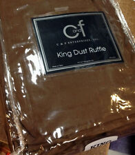 C&F Solid Brown Chocolate Brown King Tailored Bedskirt Dust Ruffle