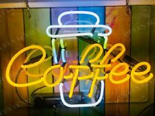 """Hot Coffee Cup Cafe Acrylic Neon Light Sign 14"""" Glass Artwork Decor Wall Open"""