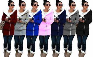 Women's Ladies Double Zip Fur Casual Sweatshirt Hoody Top Jacket Coat Hoodies