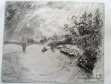 1m38 Gravure eau forte de Bracquemond signée, vue du pont des Saints Pères 1877