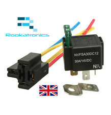12V Relay 4 pin with Socket Base/Wires/fuse Included 30A Amp SPST High Quality