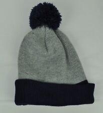 Knit Beanie Skully Toque Hat Grey Navy Blue Cuffed Winter Cold Pom Pom 2 Tone