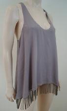 ALICE & OLIVIA Dusky Pink Taupe 100% Silk Metal Chain Fringe Tank Vest Top Sz:LG