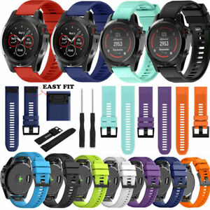 For Garmin Fenix 5X/5/3 20/22/26mm Soft SILICONE Sport Replacement Strap Band