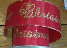 """DARICE HOLIDAY RIBBON RED W/GOLD GLITTER """"MERRY CHRISTMAS""""  WIRED -2.5"""" X 25' #3"""