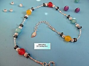 AN005 925 Sterling Silver chain Anklet Handmade Unique singular ladies Gems Gift