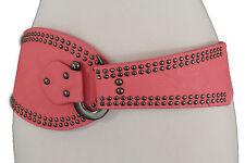 Lovely Women Pink Wide Fashion Belt Pewter Metal Studs Hook Buckle Hip Size M L