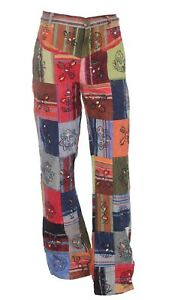 Patchwork Casual Trousers Hippie Pants Festival 60s 70s Flared Bootcut Fancy S49