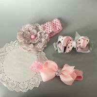 3Pcs/Set Baby Headband Lace Flower Newborn Infant Toddler Headwear Headdress_