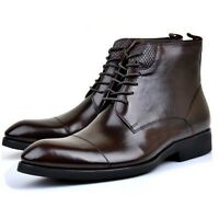 Black Brown US Size 5-11 New Leather Lace Up Formal Dress Mens Ankle Boots Shoes