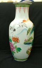 Chinese Qianlong red mark style hand painted vase with cranes and peonies