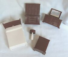 5 Pc. Bedroom Doll House Furniture Bed, Chest, Lamp, Dresser & Armoire Pre-owned