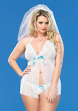 2Pc.Sheer Mesh Babydoll With Lace Ruffle Bodice,Crotchless G-String (White;PS)