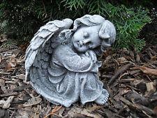Steinfigur Engel sitzend  Steinguss Frostfest Wetterfest Grabschmuck Garten Deko