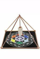 "Copper Energizer Pyramid w/ Quartz and mat Energy Healing Meditation Crystal 6"""