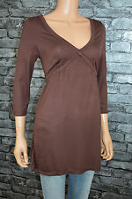 Women's Long Line Chocolate Brown 3/4 Sleeved V-Neck Top UK Size 10 / 12  -Eu 38