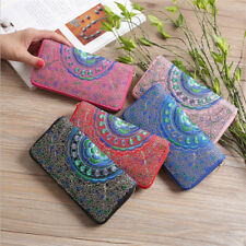 Flowers Embroidery Women Clutch Wallet Purse Change Evening Bag Phone Bag BM