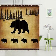Rustic Animal Waterproof Fabric Shower Curtain Black Bear Pine Forest Decor 71""