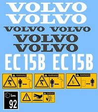 VOLVO EC15B MINI DIGGER COMPLETE DECAL STICKER SET WITH SAFETY WARNING DECALS