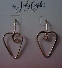 Jody Coyote Earrings JC97 New hypoallergenic gold heart dangle Made USA
