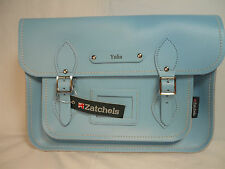 "Zatchels ENGLAND Pastel Range Baby Blue 13"" Leather Satchel Purse Bag Handbag"