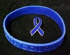 Colon Cancer Awareness March Blue Ribbon Lapel Pin Silicone Bracelet Set New