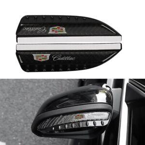 CADILLAC Carbon Fiber Rear View Side Mirror Visor Shade Rain Shield Water Guard