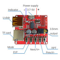 Bluetooth 4.1 Audio Decoder MP3 Player Board 3.7-5V Micro USB TF SD Card Module-