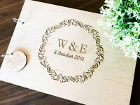 "Personalised ""Initials"" Wedding / Engagement (Customise Wooden) Guest Book,"