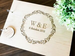 """Personalised """"Initials"""" Wedding / Engagement (Customise Wooden) Guest Book,"""