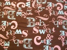 Sweet and Cute Baby Snuggle Flannel Fabric - BTY - Pink, Blue & Brown