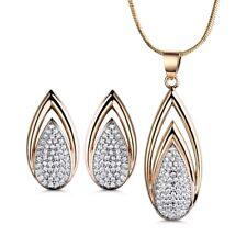Fire Pear Shape Gold Filled Swarovski Crystal Lady Necklace Earrings Jewelry SET