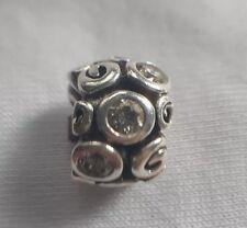 Pandora Silver Swirl Charm Bead Clear Retired 790263
