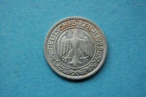 "GERMANY - 1928 FIFTY (50) REICHSPFENNIG MINT MARK ""A"" NICKEL COIN"