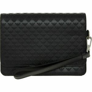 EMPORIO ARMANI Women's Black Logo Embossed Genuine Leather Bag RRP £355