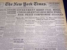 1946 MAY 22 NEW YORK TIMES - GOVERNMENT SEIZES COAL MINES - NT 856