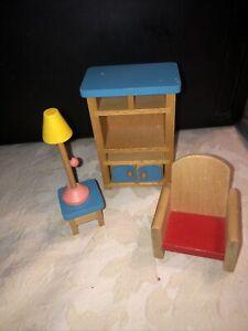 Ryan's Room Wood Wooden Dollhouse Furniture Playground Chair Lamp Armoir