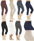 Capri 3/4 Leggings donna leggings cotone pantaloni vita alta con tasche