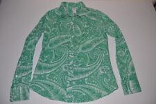 J CREW GREEN PAISLEY DRESS SHIRT WOMENS SIZE SMALL S