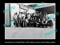 LARGE OLD HISTORIC PHOTO OF TOCUMWAL NSW, RAILWAY STATION & STAFF c1930