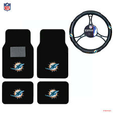 New NFL Miami Dolphins Car Truck Front Rear Floor Mats Steering Wheel Cover