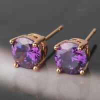 Glamorous lady purple sapphire 18K gold filled attractive stud earring