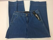 Express Womens Jeans Size 2 Wide Leg Crop Capris Light Wash Vintage Look