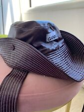 Ganni Patent Faux Leather Maroon Hat Cowboy Snap Style With Tie