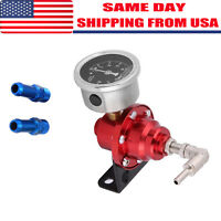 Aluminum Car 160psi Adjustable 1 1 Fuel Pressure Regulator Oil Gauge Kit Red LJ