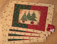 """Placemats Tapestry Holiday Style Christmas Set of 4  13""""x19"""" Christmas Tree NWT"""