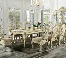 Traditional Antique White Dining Room Furniture 9 pieces Table & Chairs Set Icc8