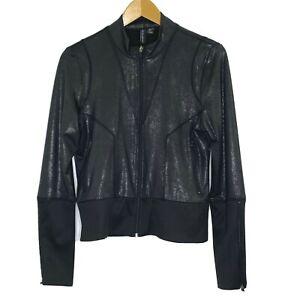 Cynthia Rowley Women's size Medium Zip Front Activewear Jacket Top Black NEW