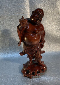 """Buddha Statuette 11"""" Chinese Vintage Wood Standing Smiling"""