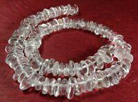 😏 Bergkristall Perlen Lamellen ca. 8-12 mm Edelsteinperlen Strang für Kette 😉